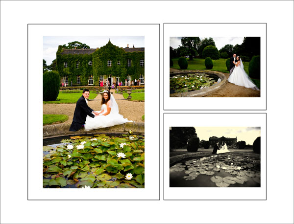 lily pond summers evening wedding pictures in Woolley hall gardens