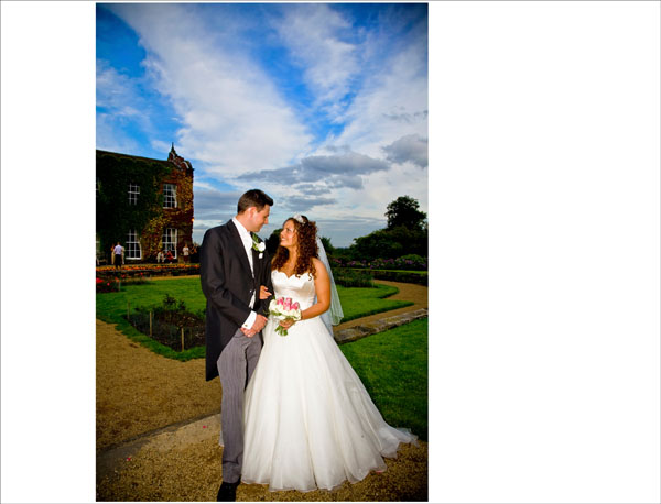 bride & groom in Woolley Hall gardens