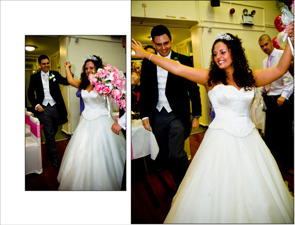 bride and groom enter evening wedding reception with traditional Armenian dance routine