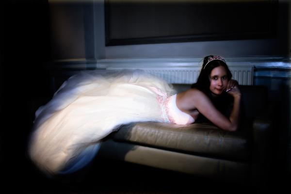 contemporary winter bridal portrait at Leeds Metropole Hotel