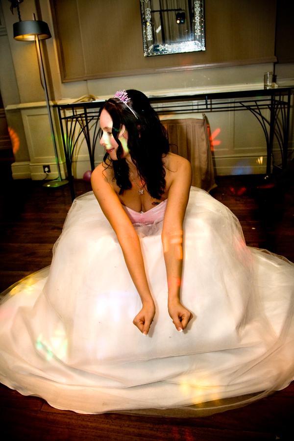 evening wedding reception picture in Leeds of bride dancing