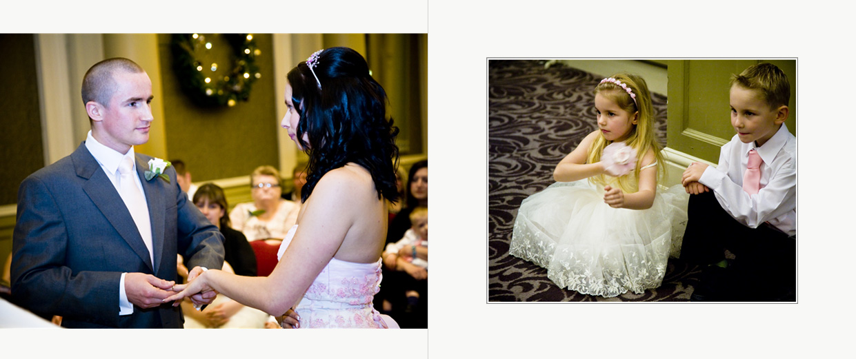 wedding storybook album with exchange of rings watched by little bridesmaid and page boy
