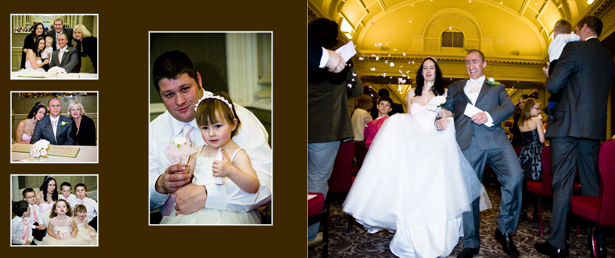 storybook album with bride and groom dancing  out to confetti shower