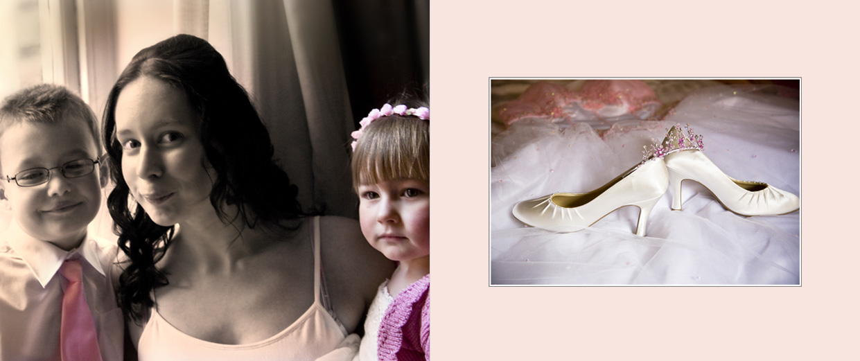flower girl, page boy, bride and wedding shoes