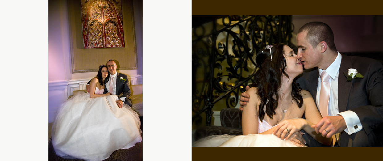 bride and groom portraits inside Hotel Metropole in Leeds