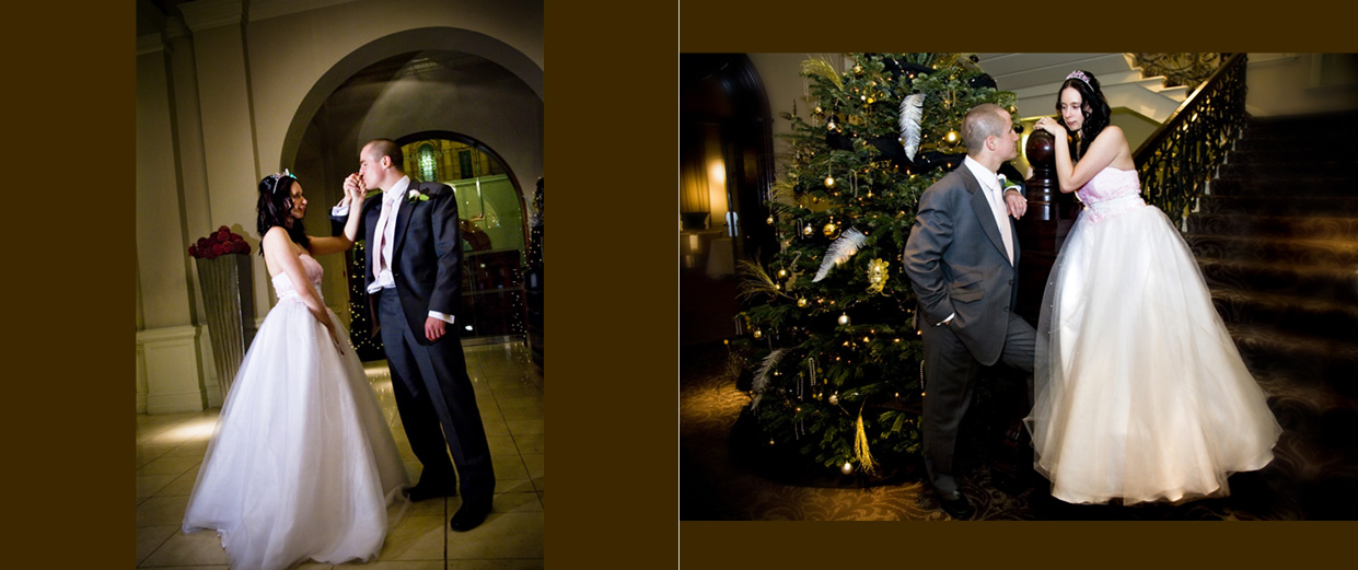 bride and groom practising their first dance and standing by Christmas tree