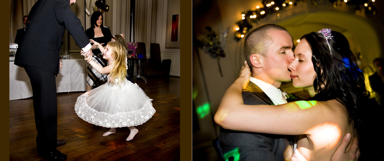 flower girl being twirled round and the First Dance wedding pictures Leeds