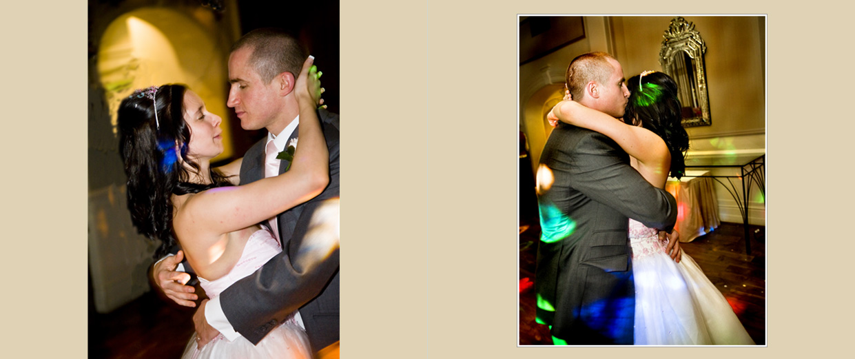 First Dance pictures at night during Winter evening wedding reception
