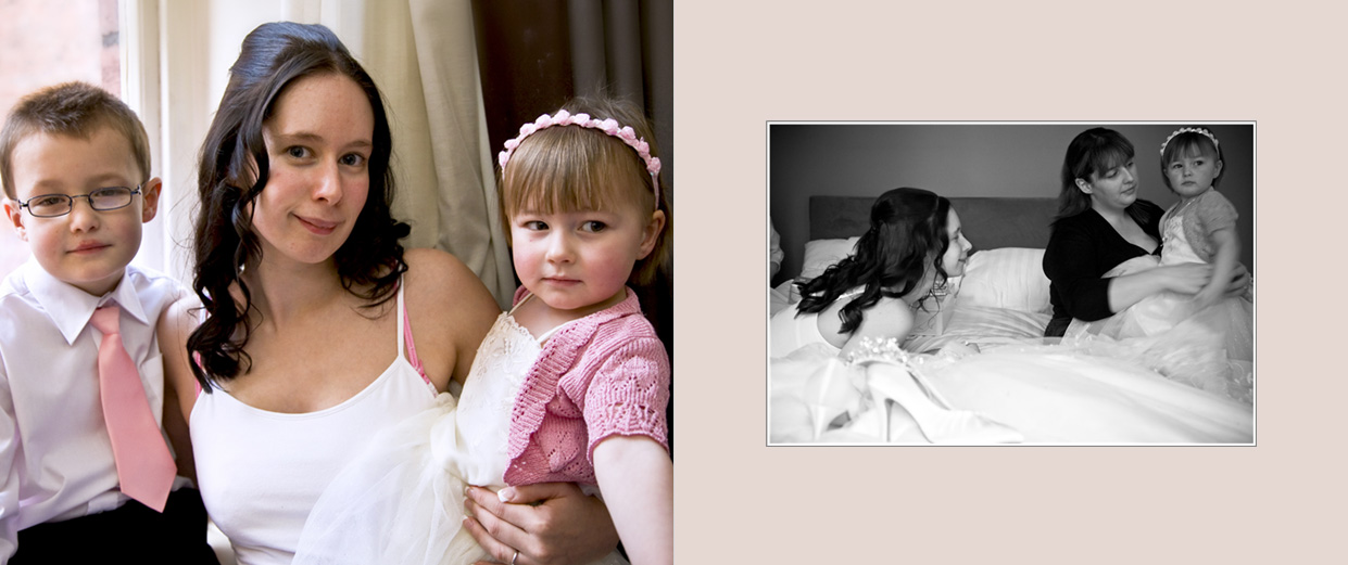 storybook wedding album with black & white photo of bride and flower girl