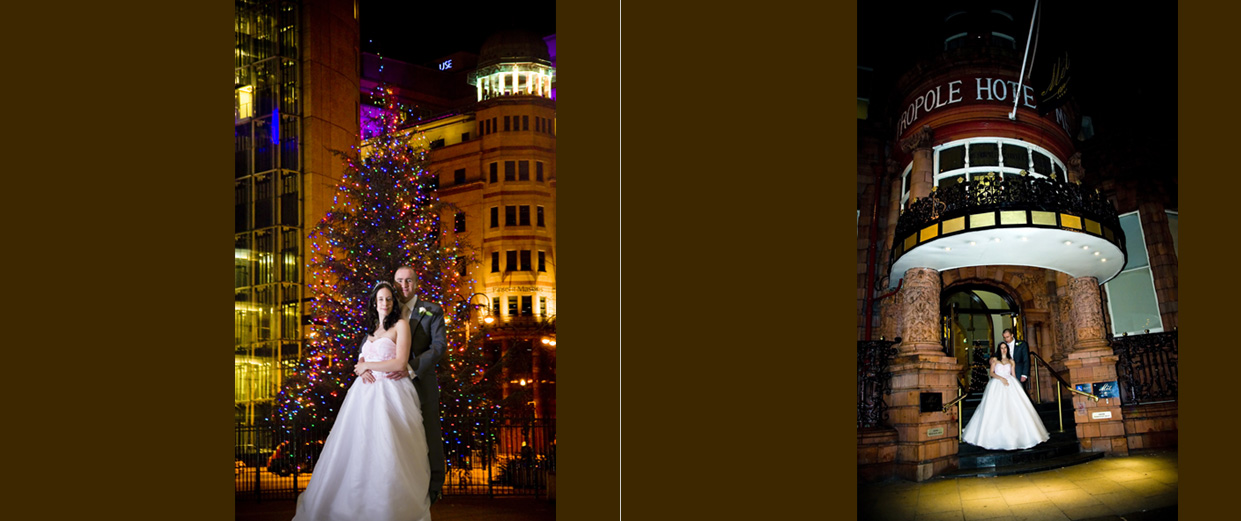 bride & groom by Christmas tree opposite train station in Leeds & outside the Met at night
