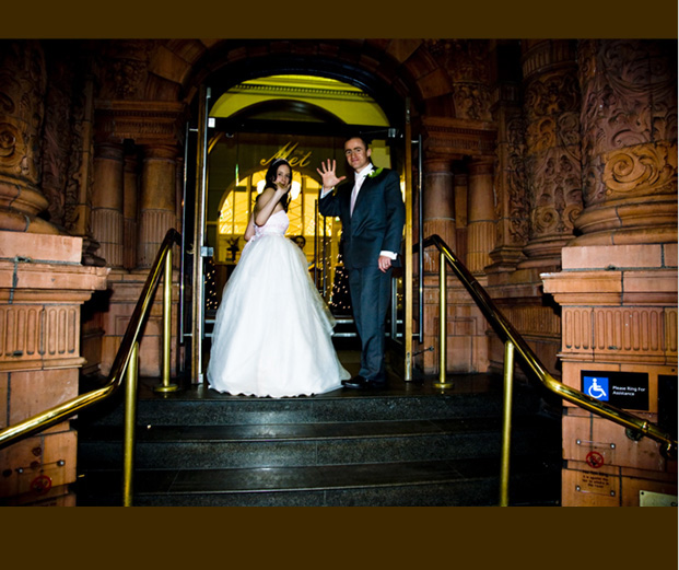 bride and groom say goodnight to their wedding photographer in Leeds outside the Met