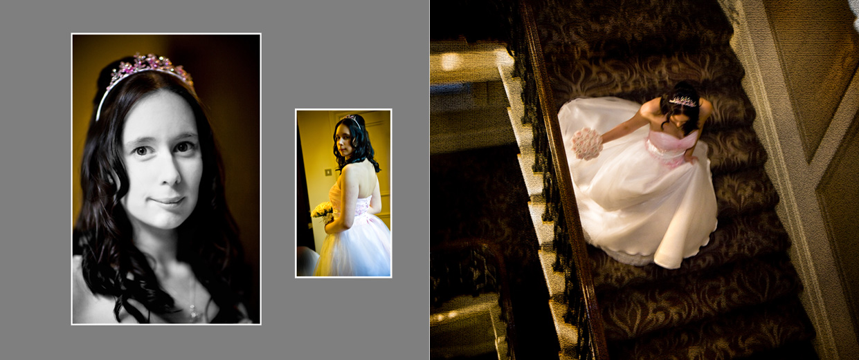 wedding storybook album with bridal portrait and bride going downstairs for wedding ceremony in Leeds