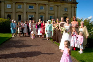 wedding party outside Wortley Hall near Sheffield