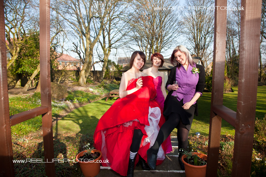 Alder House with bridesmaids, a lovely wedding venue in West Yorkshire