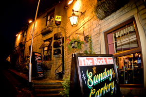 The Rock Inn at night, wedding venue in Holywell Green near Halifax