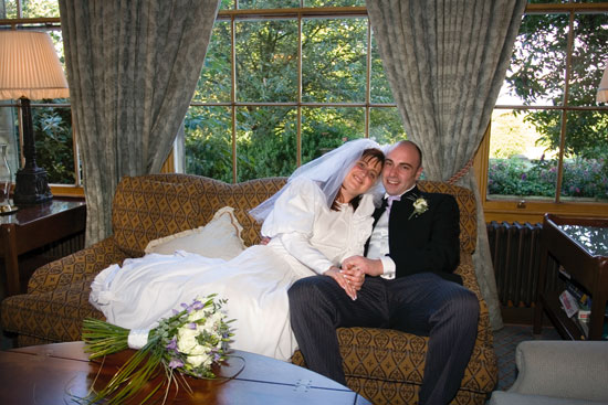 Bride and groom inside Oulton Hall, wedding venue near Leeds