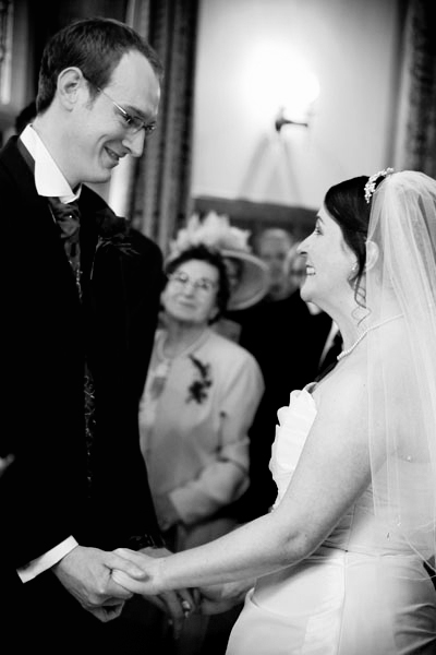 black and white wedding photo during ceremony at Monk Fryston Hall Hotel