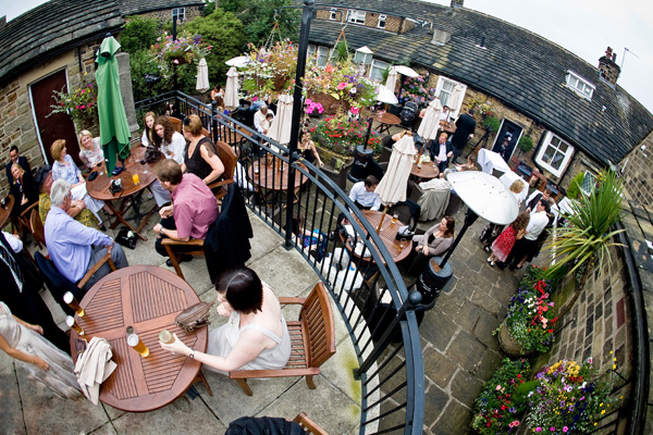 outdoor wedding reception at Black Horse in Clifton near Brighouse