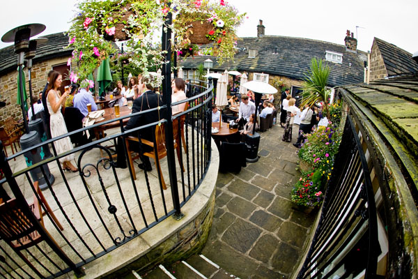 outdoor wedding reception at the Black Horse in Clifton West Yorkshire