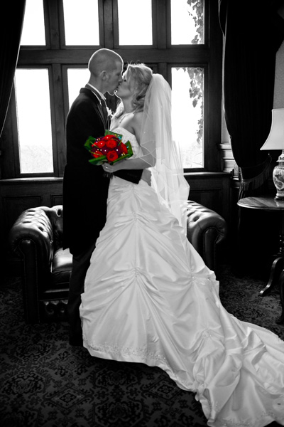 winter wedding picture inside Bagden Hall near Huddersfield