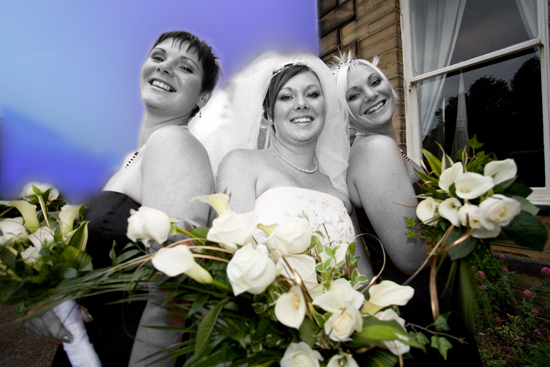 bride &amp; bridesmaids outside Blenheim House in Batley