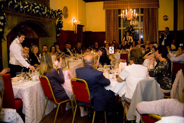wedding reception inside Monk Fryston Hall Hotel