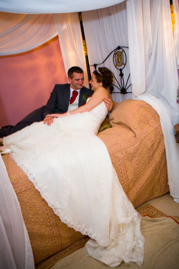 bride and groom in bridal suite at Hey Green Hotel in Marsden