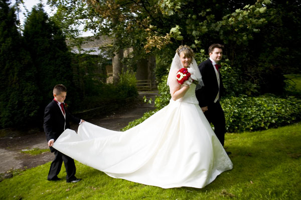 bride and groom in grounds of Steeton Hall