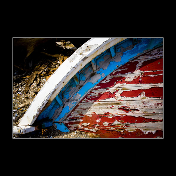 Detail of prow boat in Takis boatyard near the airport in Greek Island of Chios