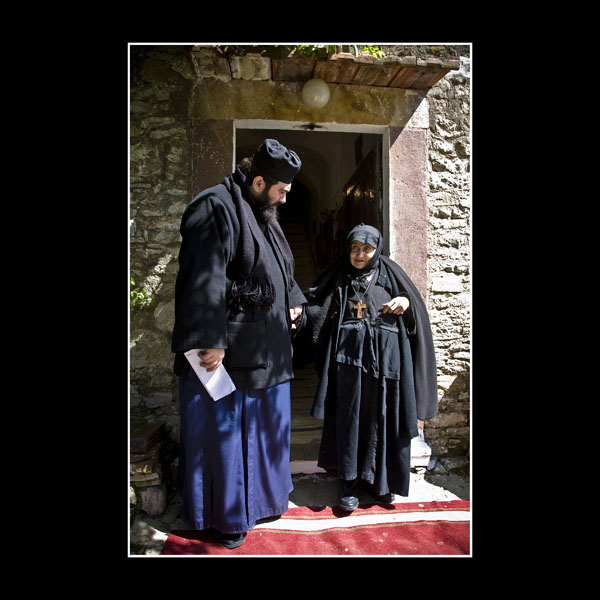Greek Orthodox priest and very long serving Nun in Chios at 1000 year old Monastery