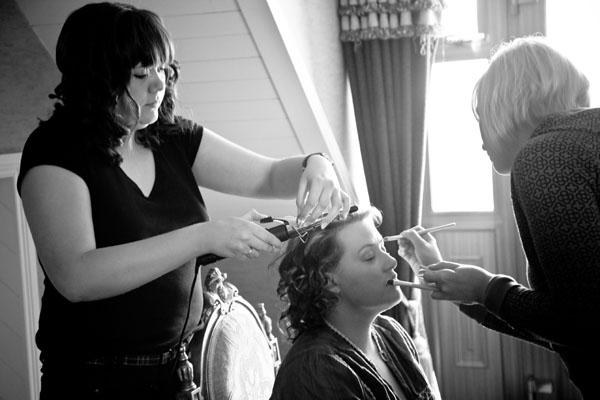 close family getting ready for wedding in Donegal, Republic of Ireland