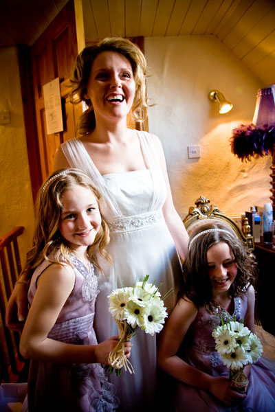 All ready for the wedding now - flower girls and bride