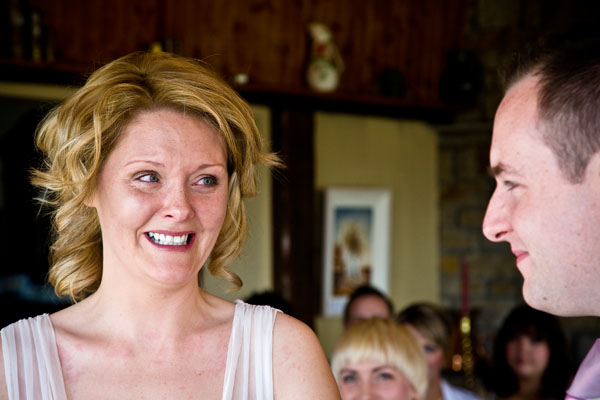 close up of bride and groom's faces during vows