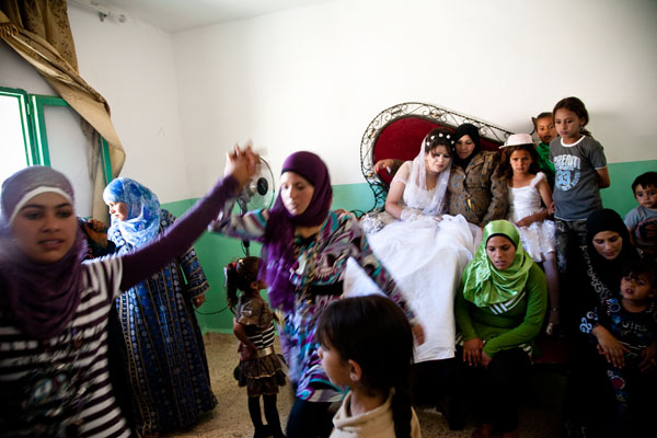 Bedouin bride Ayesha with dancing Bedouin women