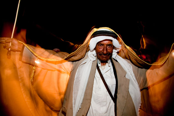 Arabic dancer at wedding in Bedouin tents at Petra during evening wedding celebrations