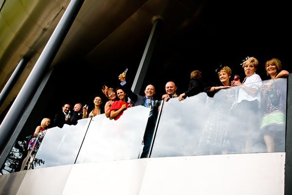 wedding guests get a ringside seat in comfort viewing the proceedings from the balcony