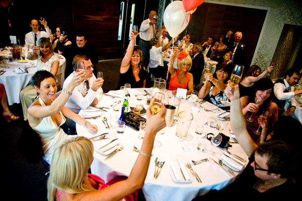 toast during speeches at wedding breakfast at KP Club Glasshouse in Pocklington