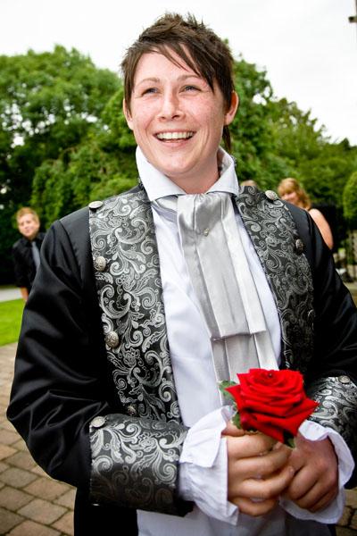 Civil partner Helen arrives at wedding venue in Leeds