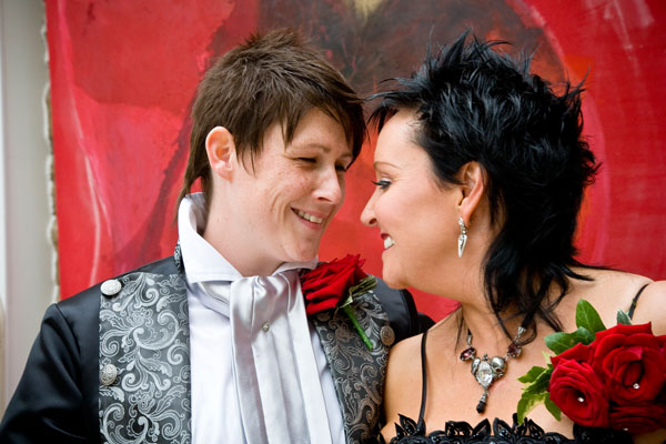 Gothic Gay wedding in Leeds, with two brides