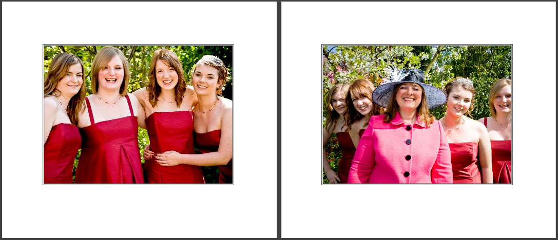 storybook wedding album - Laura & Daniel's bridesmaids in red -and with Aunty in the garden