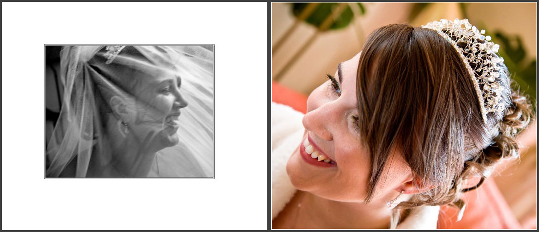 Laura & Dan's wedding storybook album pages 9 and 10, bride with Tiara