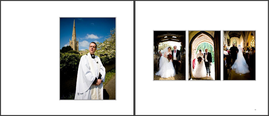 Laura & Dan's wedding storybook album pages 11and 12, church wedding vicar waiting for the bride