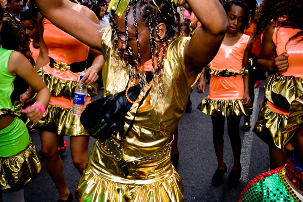 super energetic female Caribbean dancer at Huddersfield Carnival 2009