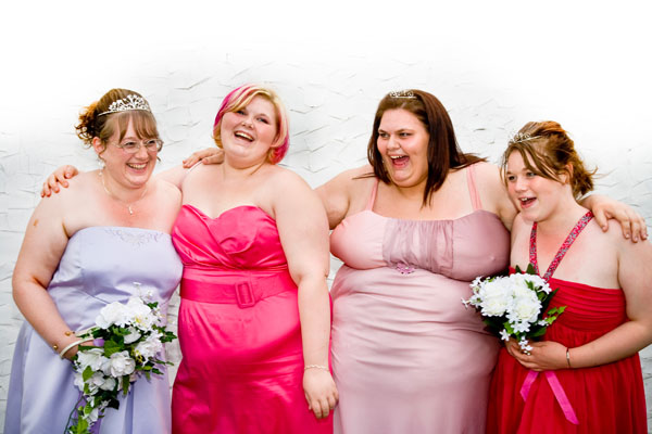Bride Lisa with her 3 new daughters