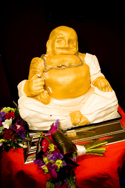Golden Buddha wedding cake