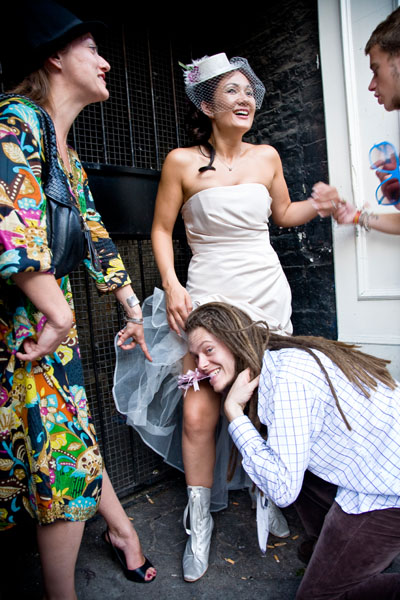 Fun wedding picture of Michelle 39s wedding guests get in on the act too