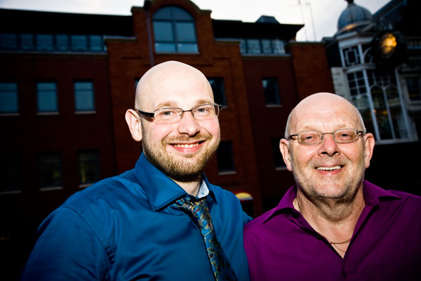 Bridegroom Keiron with his Dad outside Smokestack in Leeds during evening wedding reception
