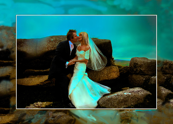 Moody mist - contemporary acrylic picture of bride and groom on Dartmoor