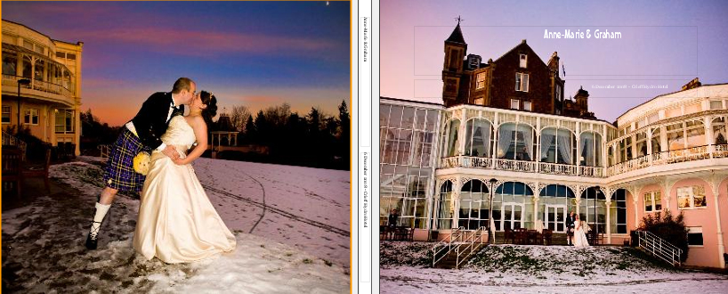 Scottish winter wedding storybook album cover - Crieff Hydro Hotel in Perth