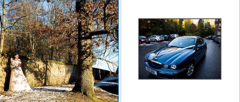 storybook album of Scottish bride in snow and arriving in wedding car outside Crieff Hydro Hotel